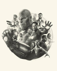Avengers Infinity War Pencil Art working process