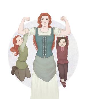Nerdanel, Maedhros, and Maglor by rowanbaines