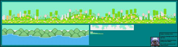 Super Fantasy Zone Picknica Backgrounds + Sprites by Okamikurainya