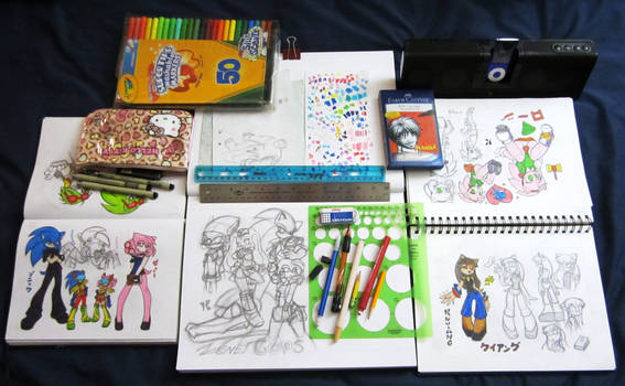 sketchbooks and materials