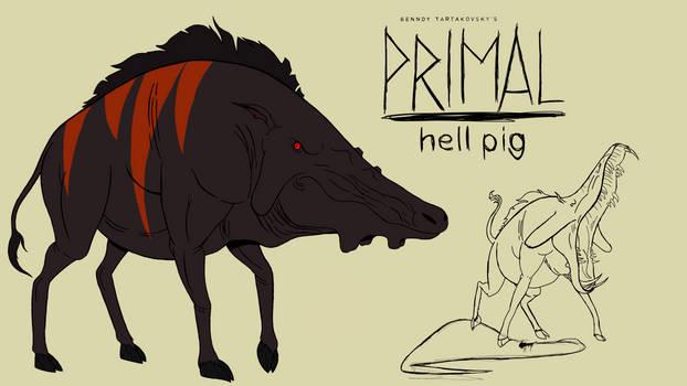 Genndy tartakovsky primal hell pig style.