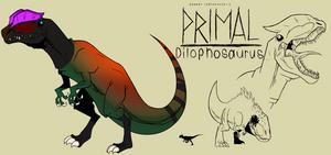 Genndy tartakovsky primal dilophosaurus style.