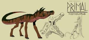 Genndy tartakovsky primal kaprosuchus style.