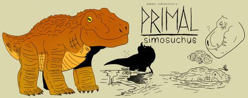 Genndy tartakovsky primal simosuchus style.