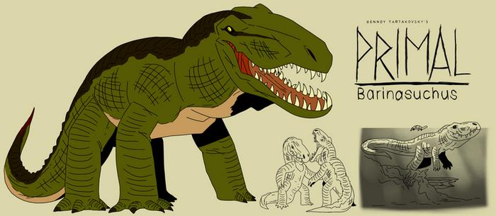 Genndy tartakovsky primal barinasuchus style.