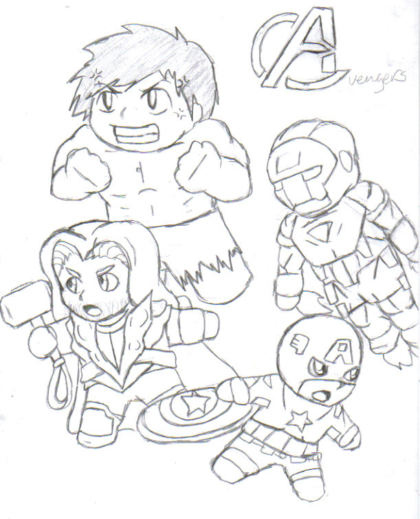 Chibi Avengers Coloring Pages : Chibi avengers drawing sketch coloring page