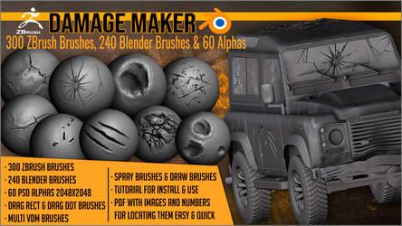 DamageMaker:300 ZBrush Brushes,240 Blender Brushes