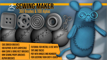 Sewing Maker 360 ZBrush brushes and 100 Alphas by J-o-r-d-i