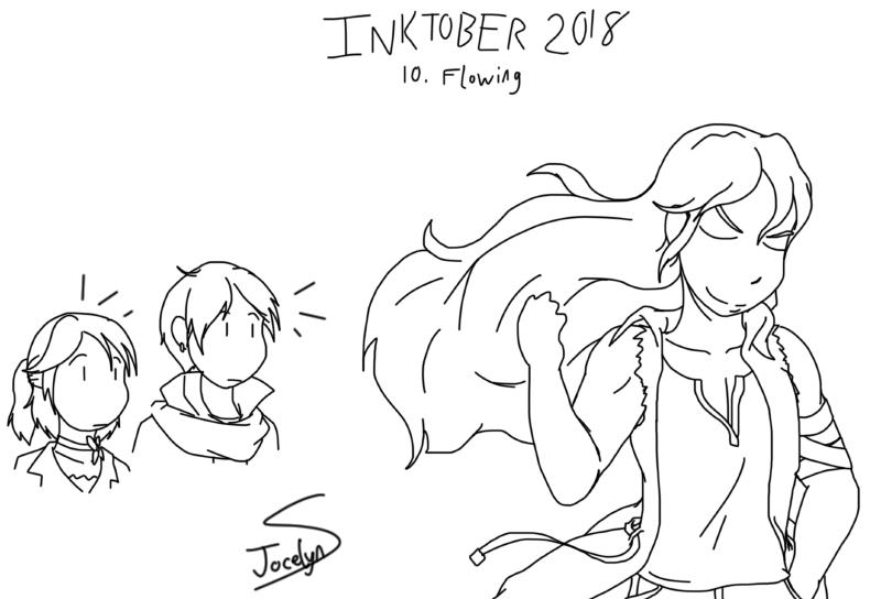 Inktober 2018 - 10. Flowing by JocelynSamara