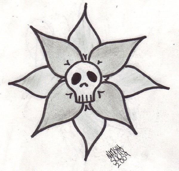 simple skull tattoo design by DemonOfObsession