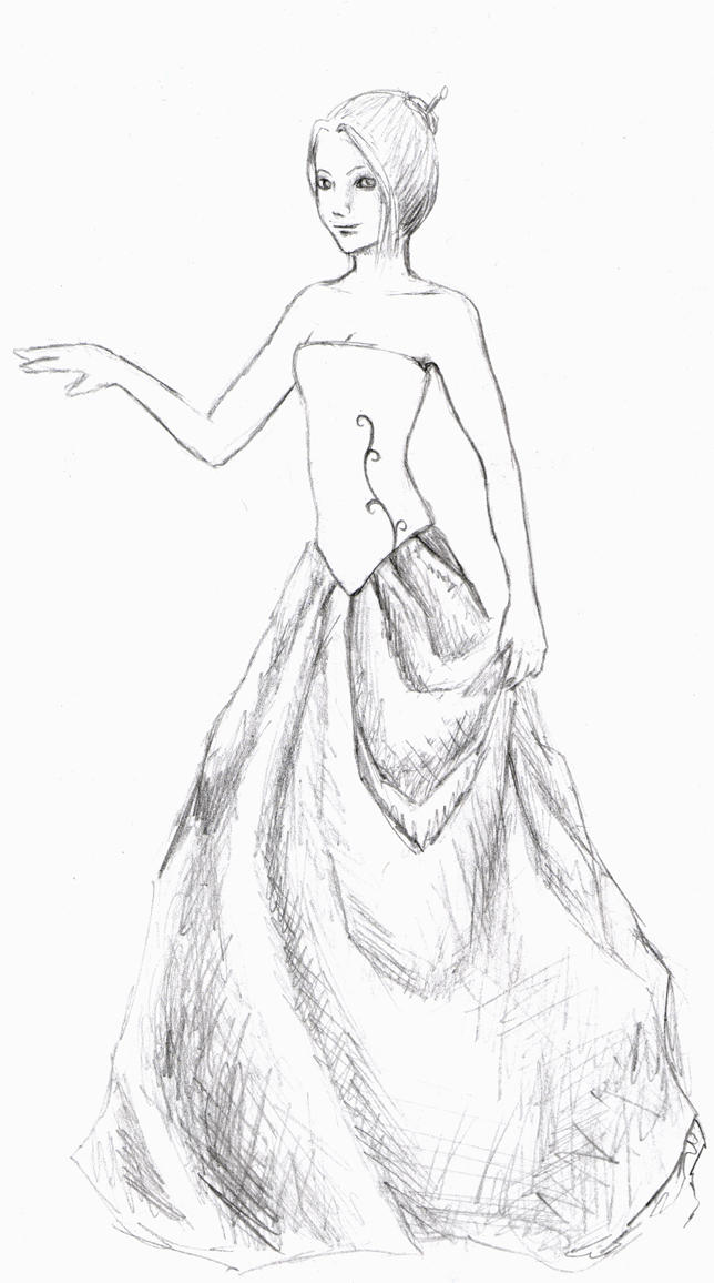 Ball gown- sketch by vividwings on DeviantArt