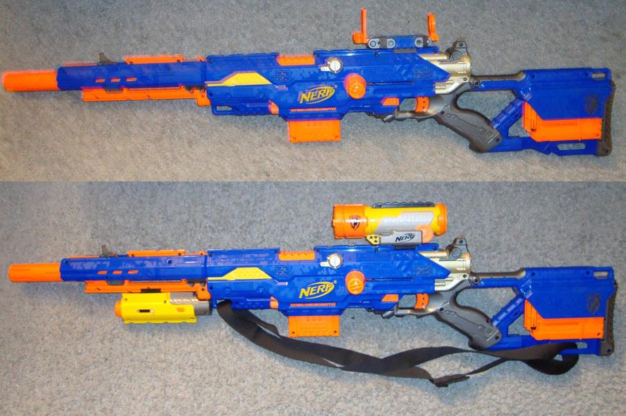 Nerf longshot cs-6 orange yellow dart gun sniper rifle front blaster scope