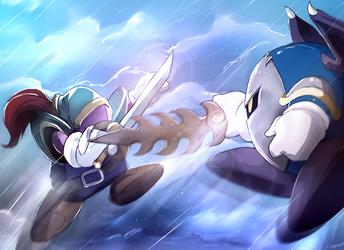 Meta Knight VS Blade Knight by PinkPuffKirby