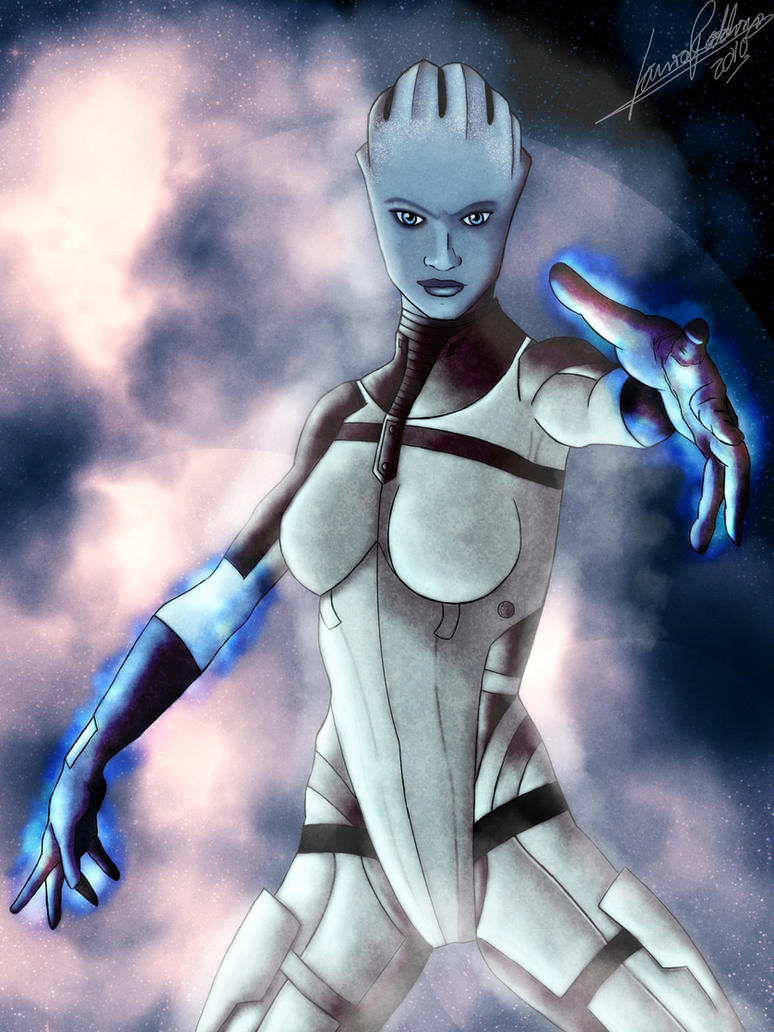 Mass Effect team members:Liara by Striped-Stocking