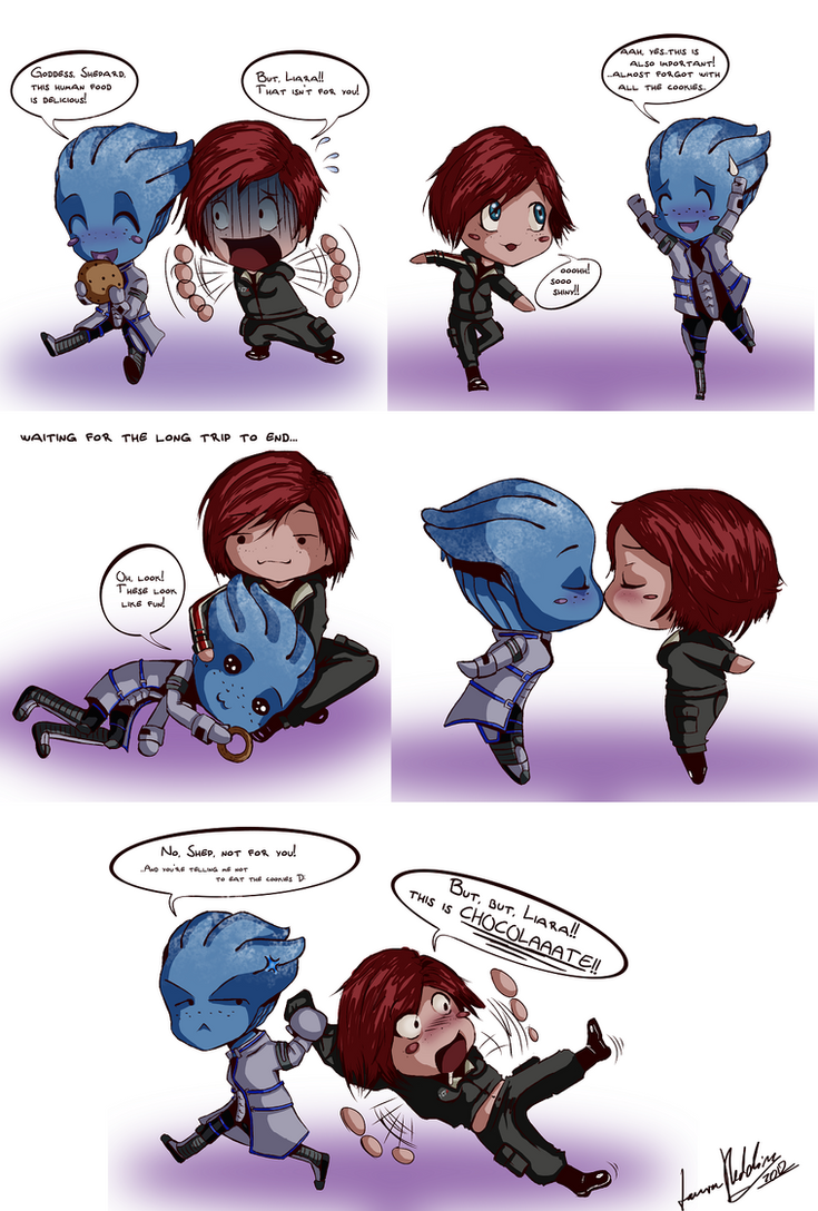 Shep and Liara Chibis by Striped-Stocking