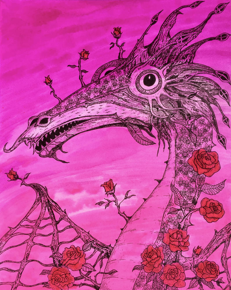 Rose Dragon by hollow-creature