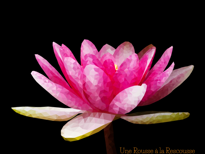 pink lotus - nenuphar low poly, polygonal art by RousseRescousse