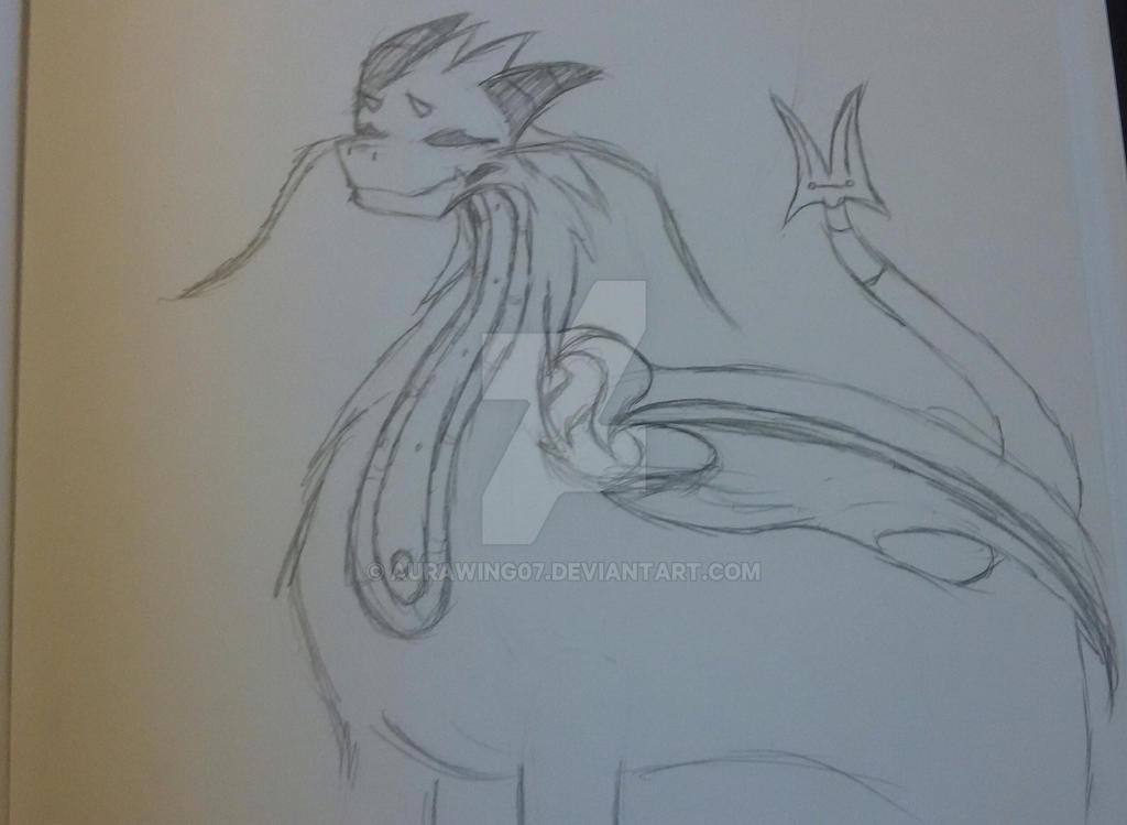 (Sketch, Unfinished) Dragon/Ahamkara by AuraWing07