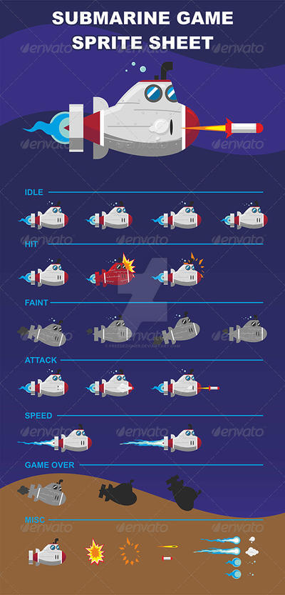 Submarine Game Sprite Sheet by freedezigner