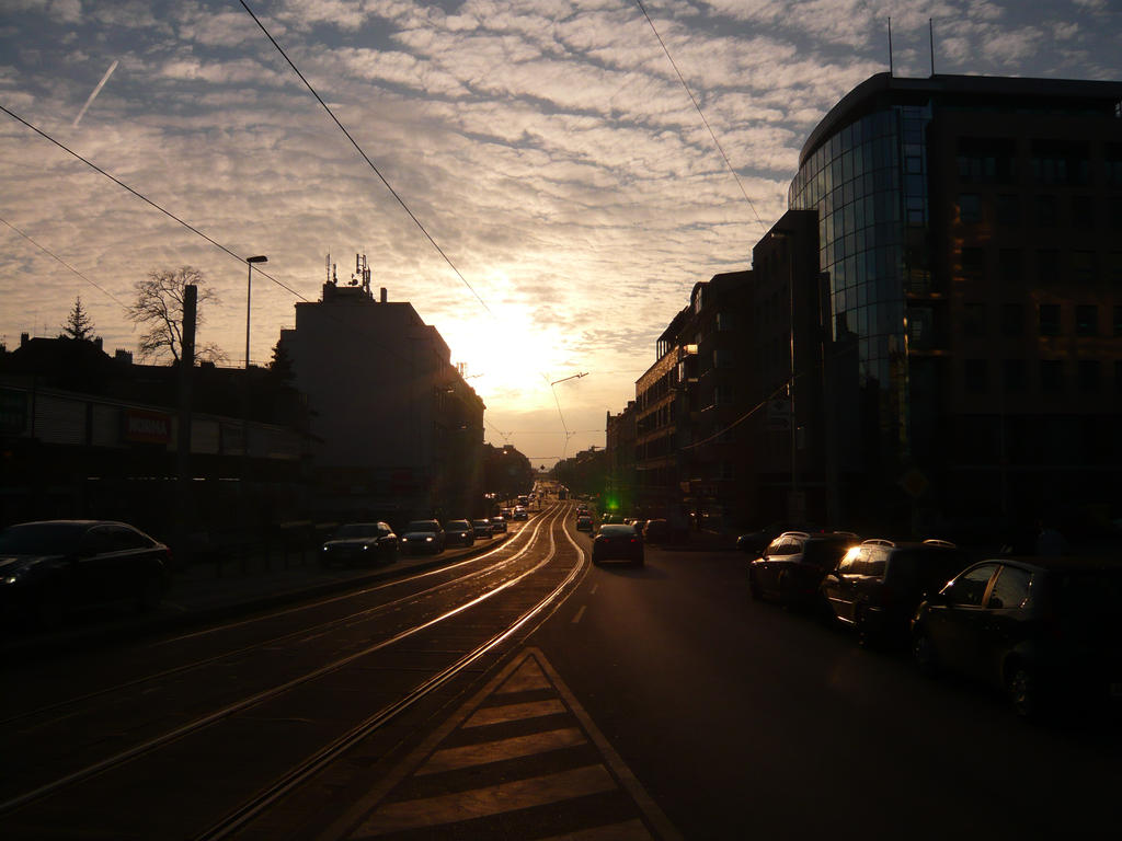 Prague, sunset in the streets