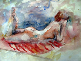 Pencil and Wash Nude by hundredsand