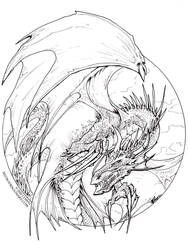 Circle Dragon - lineart by drakhenliche
