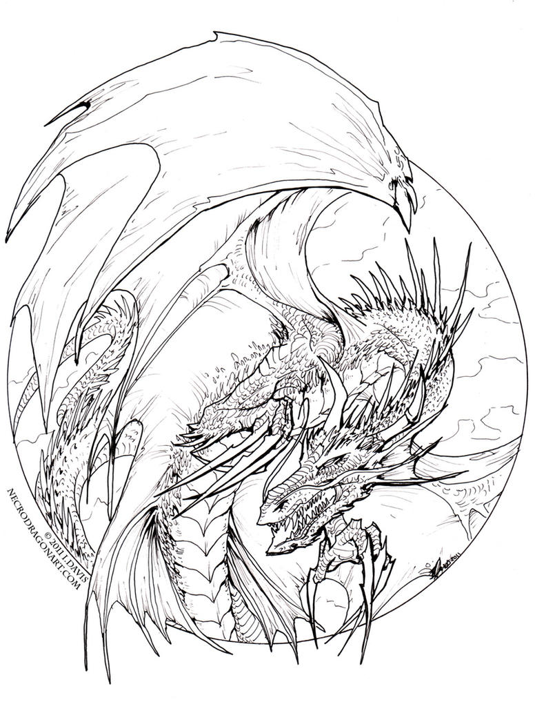 Dragon Lineart : Circle dragon lineart by drakhenliche on deviantart
