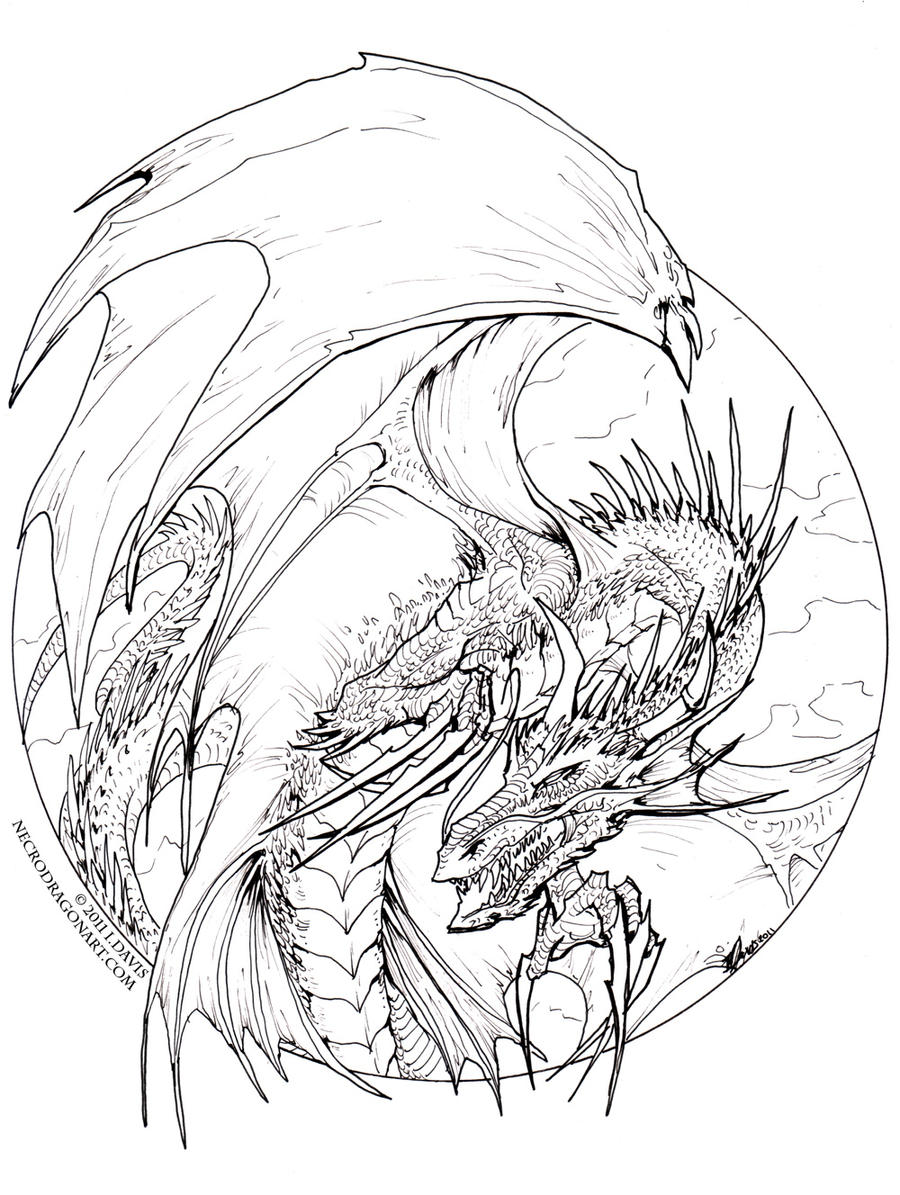 detailed dragon coloring pages - photo #23