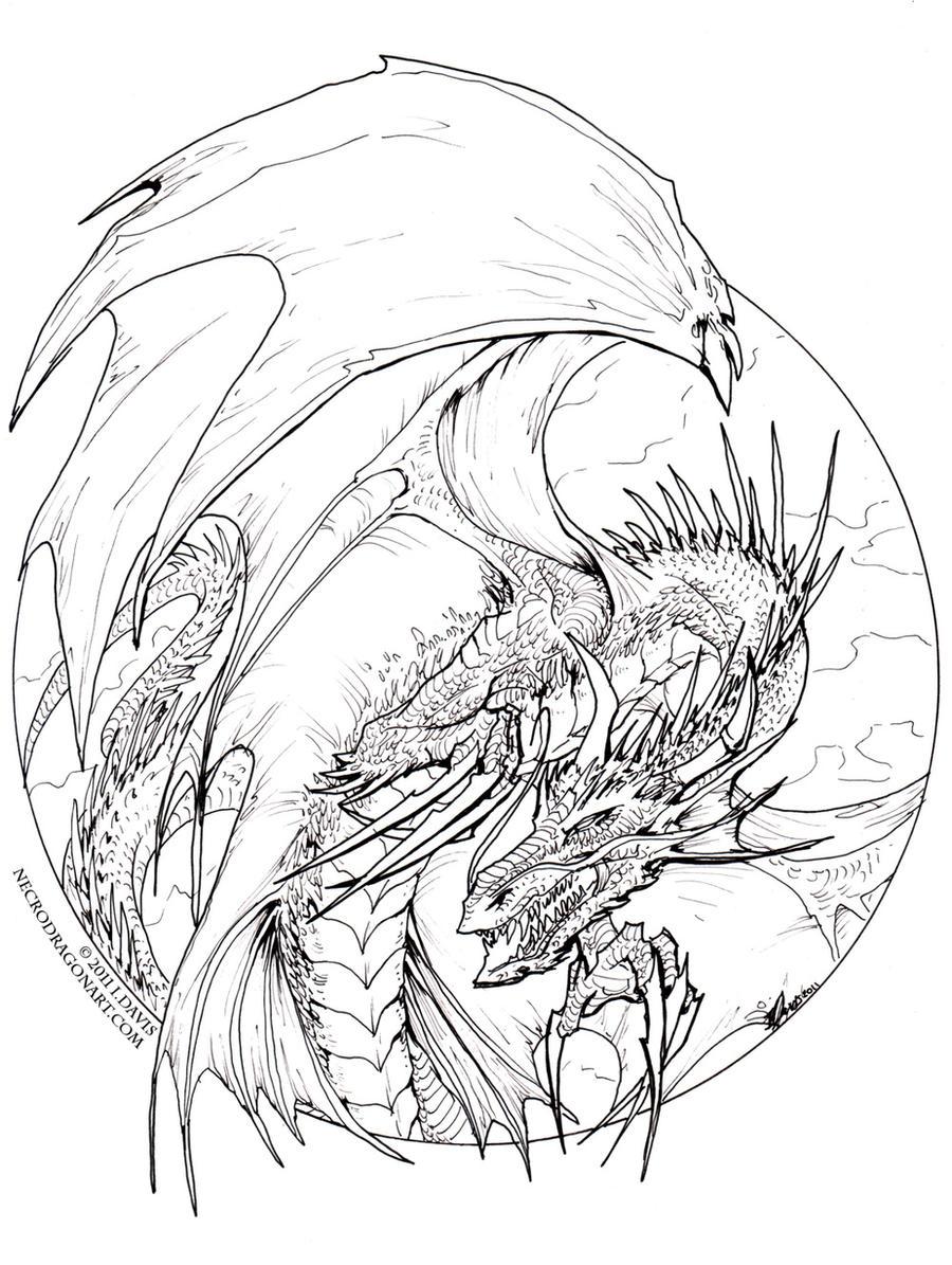 Circle Dragon lineart by drakhenliche on DeviantArt