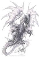 Dragon Attack - BW by drakhenliche