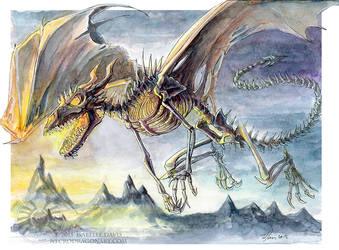 Watercolour Skeletal Dragon by drakhenliche