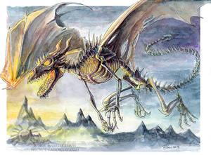 Watercolour Skeletal Dragon