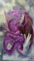Silk Painting - Purple Dragon by drakhenliche