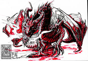 Inktober17 - Raging Dragon by drakhenliche