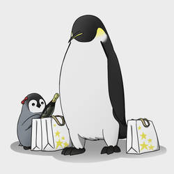 Emperor Penguins - Mom and Daughter Shopping