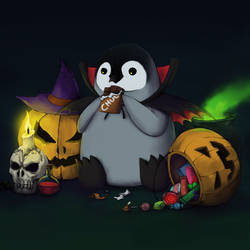 Spooktober! Emperor Penguin Chick is in the mood!