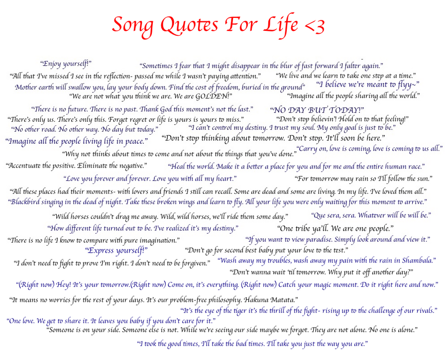 Song Quotes About Life. QuotesGram