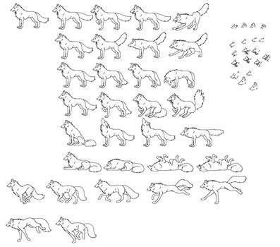 Wolf Sprites-Emotions (BASE TYPE 1) by KitsuneRedWolf