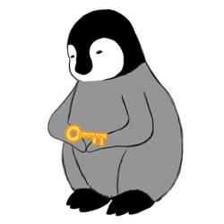 Penguin Holding a Key