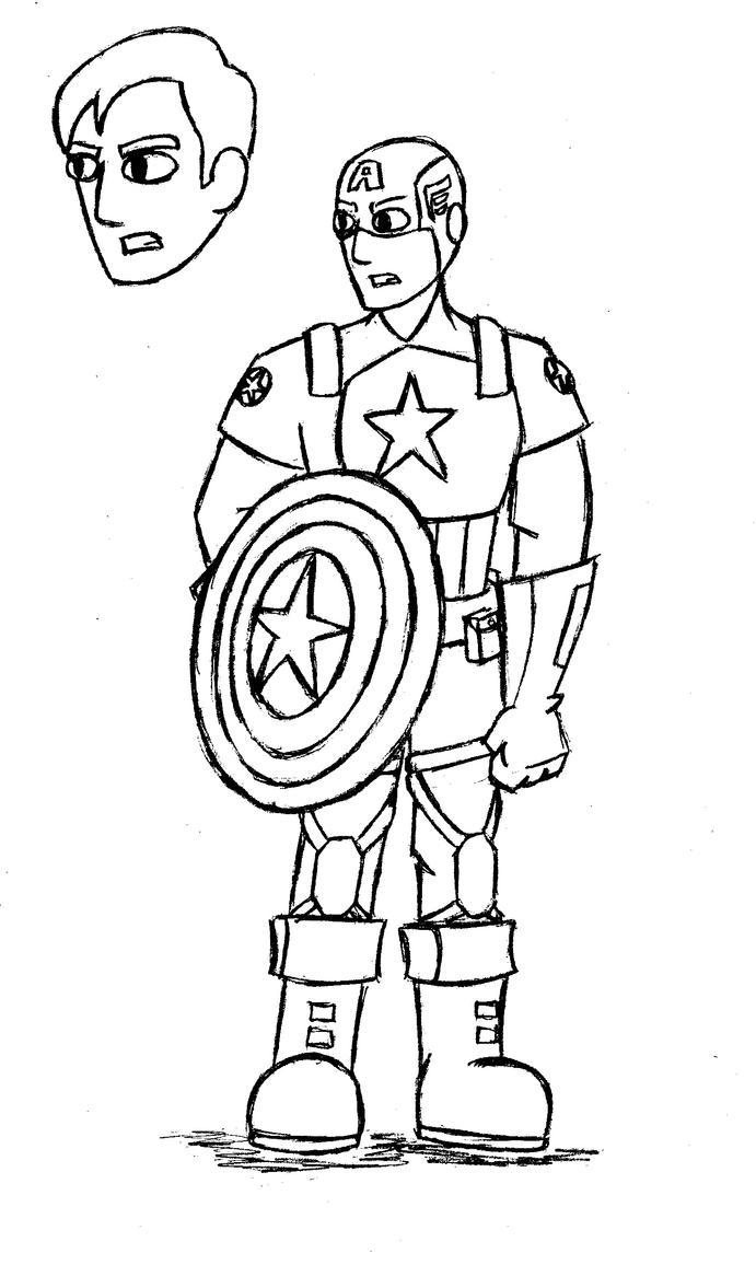 Line Art America : Captain america the first avenger line art by