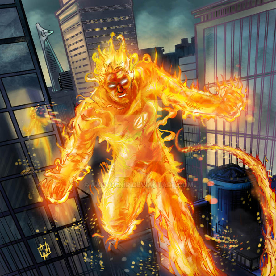 Human Torch color over my doodle by aanturnip
