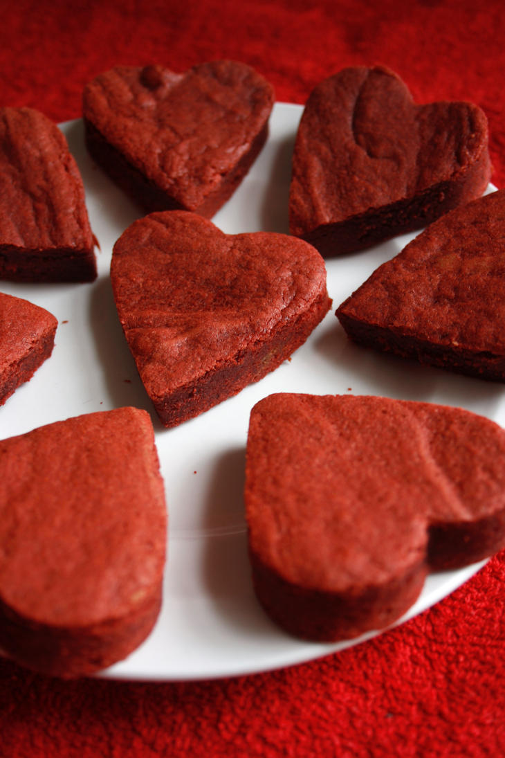 Red Velvet Brownie Hearts by behindthesofa