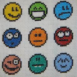 Emoticon cross stitch by behindthesofa