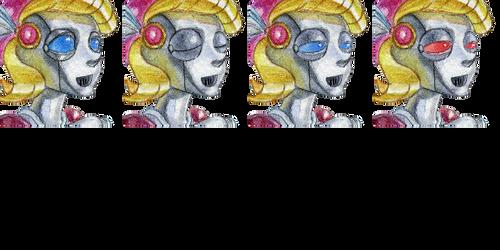 Robot girl face set