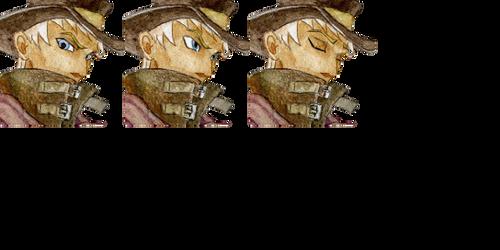 Man in hat face set