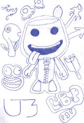 LBP Sack Boy and Stickers by julz1992