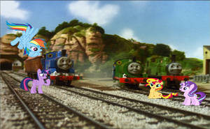 Four Ponies and Three Steam Engines by Rizo2612Studios