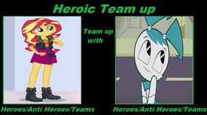 Heroic Team Up: Sunset Shimmer and Jenny Wakeman by Rizo2612Studios