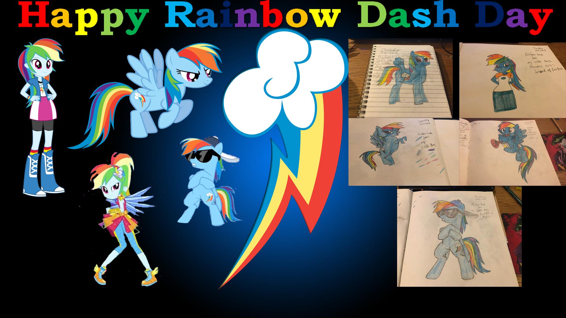 Happy Rainbow Dash Day Collage by Rizo2612Studios