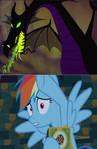 Rainbow Dash gets frighten by Maleficent